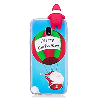 ZCXG Samsung Galaxy J3 2017 J330 Case Christmas Balloon Present Silicone Clear View Cover 3D Case Ultra Thin Back Bumper Case Rubber Shockproof Anti-Scratch Slim Soft Cover Slim Fit Crystal
