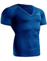 emFraa Homme Femme Sport Compression Blue V Neck Base layer Shirt Shortsleeve S~2XL