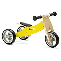 Nicko Mini 2 in 1 Lemon Yellow Wooden Balance Running Bike Trike 18 months - 3 years old