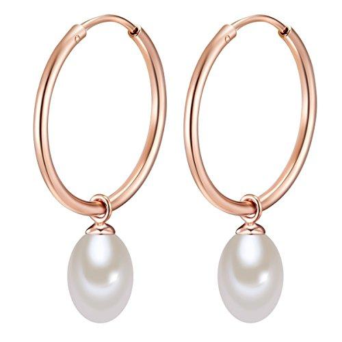 Valero Pearls Damen-Creolen mit Perlen-Anhänger Sterling Silber rosévergoldet mit Süßwasser-Zuchtperlen weiß - Perlenohrhänger Silber-Ohrringe
