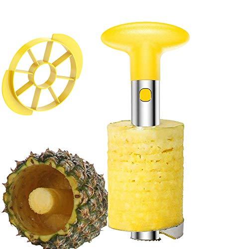 fortspang Ananas Corer und Slicer, Ananasschneider 3 in 1 gelber Ananasschäler Edelstahl Easy Kitchen Fruit Slicer - Easy Slicer