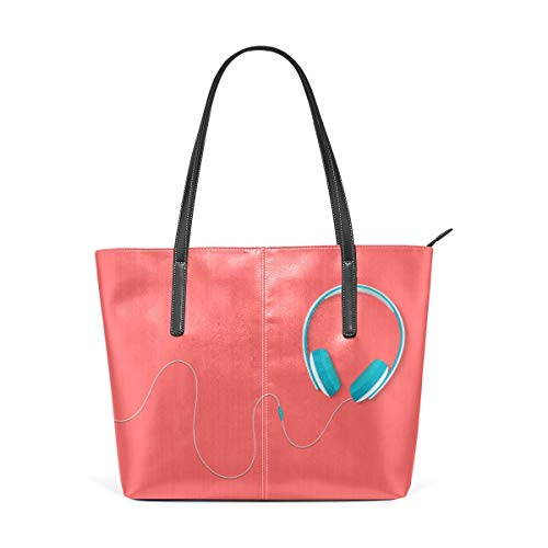 Mode Handtaschen Einkaufstasche Top Griff Umhängetaschen Street Style Trend Headphones Large Printed Shoulder Bags Handbag Pu Leather Top Handle Satchel Purse Lightweight Work Tote Bag For Women Girls