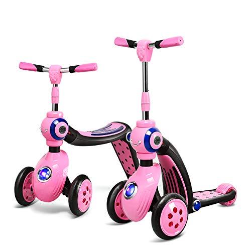 COSTWAY 2 in 1 Laufrad und Scooter Kinder, Roller mit PU Rad, Kickboard Tretroller für Kinder ab 3 Jahren, Max. Belastbarkeit 30 kg (Rosa)