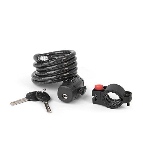 Fahrradschloss Spiralschloss in schwarz, Spiralkabelschloss fürs Fahrrad mit einer Länge von 150 cm, inkl. Halterung und zwei Schlüsseln, Schloss ist flexibel anbringbar by Provelo