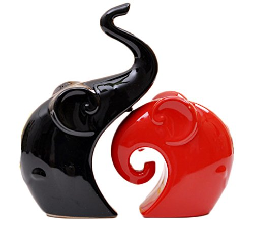 Creative home decor black and red ceramic elephant screen figure