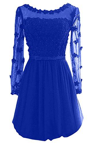 Gorgeous Bride Elegant Brautmutterkleider Lang Aermel Satin Tuell A-Linie Abendkleider Lang Ballkleider Royalblau-Kurz