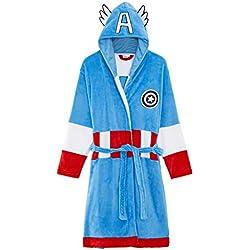 Marvel Avengers Robe De Chambre à Capuche Taille Adulte, Robe de Chambre des Super Héros Hulk et Captain America en Polaire Super Douce, Idée Cadeau Comics pour Homme (XL, Captain America)