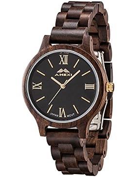 Amexi Holzuhr Herren Damen Uhren aus Holz Unisex Natürlich Holz Armbanduhr Männer Frauen Römische Ziffern Zifferblatt...