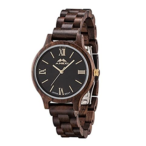 Amexi Unisex Watch Gold Tone Numerals Roman Dial Lightweight Thickness Black Sandalwood Men Watch
