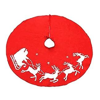 Aiming 100cm no Tejidas Ciervos de Navidad Falda del árbol Delantal Rojo del árbol de Navidad Adornos Decoración