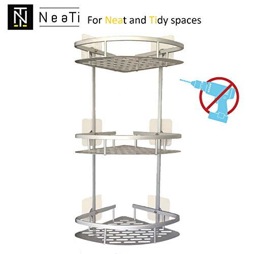 Neati mensola angolare per doccia a 3 piani in alluminio (a prova di ruggine) senza foratura (adesivi super resistenti). cestello portaoggetti da parete per montaggio al bagno