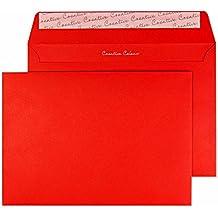 Design Range Vibrant 306 - Sobre C5 con solapa autoadhesiva (120g/m², 500 unidades), color rojo
