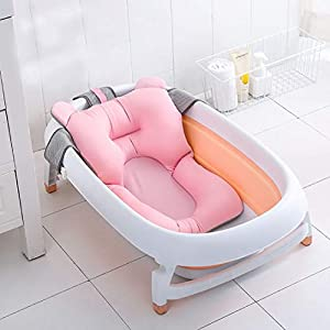 Baby Bath Tub Pillow, Floating Anti-Slip Bath Cushion Soft Seat Bathtub Support for Newborn 0-6 Months