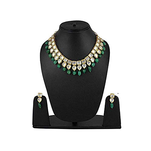 Shining Diva Fashion Green Kundan Stylish Necklace Set for Women Wedding Traditional Jewellery Set with Earrings for Women & Girls