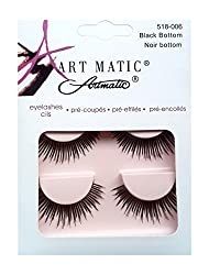 ARTMATIC Imported 2 Pair Black Natural Thick Long False Eyelashes with Adhesive - 518-006