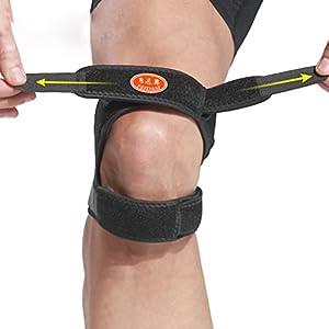 HEALIFTY Verstellbare Knieorthese Stützband atmungsaktive 2-Schicht-Knie-Unterstützung für den Lauf Wandern Schmerzlinderung Arthritis (schwarz)