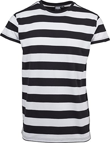 Urban Classics Herren T-Shirt Block Stripe Tee Mehrfarbig (Black/White 00050)