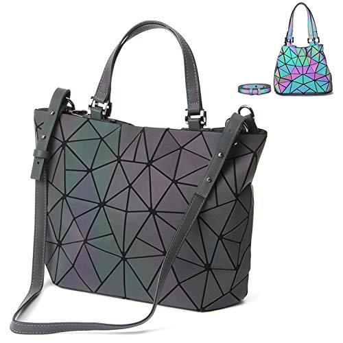 Geometrische Damen Umhängetasch Top-Henkeltaschen Tasche Schultertasche Messenger Bag Große Tasche Leuchtend Holographische Top-Griff Taschen PU-Leder Scherbe Gitter Design (Corlor-4)