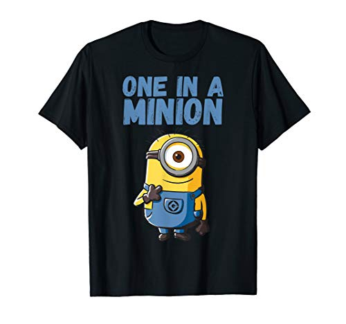 Despicable Me Minions One In A Minion Blue Text Portrait T-Shirt (Minion One Shirt A In)
