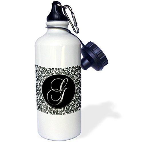 3dRose wb_38756_1 Letter G-Black and White Damask Sports Water Bottle, 21 oz, White