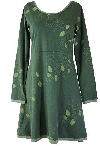 Guru-Shop Minikleid, Boho Kleid Leave Organic, Damen, Grün, Baumwolle, Size:S (36), Kurze Kleider Alternative Bekleidung
