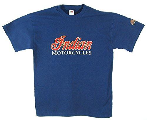 Indian Motorcycles t-shirt–blu/oro rosso e logo in formato grande (da 40a 106,7cm)–-- capo indiano, scout, Chieftain, Springfield–-- si prega di vedere il nostro catalogo per tutte le altre misure di questa maglietta