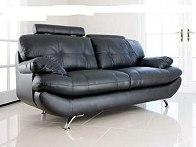 Verona Black PU Leather 3+2 Seater Sofa Suite