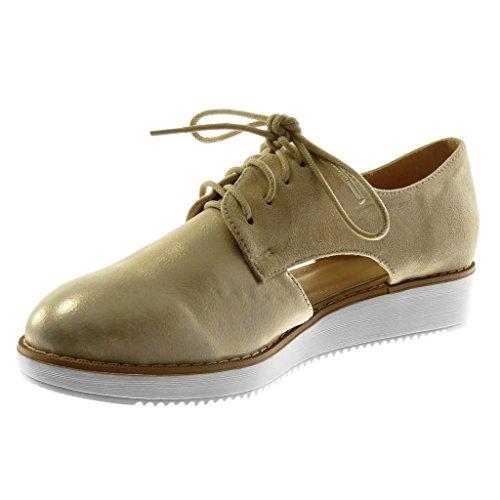 Scarpe Da Donna Angkorly Scarpa Derby - Aperta - Suola Sneaker - Lucido - Tacco Piatto Cucito Rifinito 3 Cm Oro