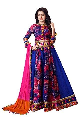 J B Fashion Women's Pure Cotton print Blue color Lehenga Choli (537050)