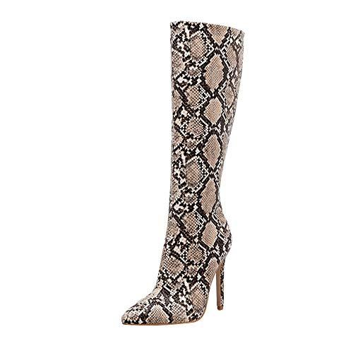 ❤️ Botas Altas de Leopardo Sexy, Botas de Invierno de Serpiente para Mujer Botas de caña Alta Botas de tacón de Aguja Sexy para Discoteca Calentar Calzado Outdoor Zapatos Absolute