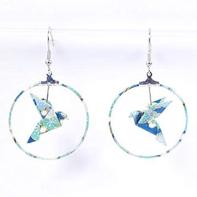 Boucles d'oreilles colombes origami créoles fleurs bleues et vertes - crochets inox