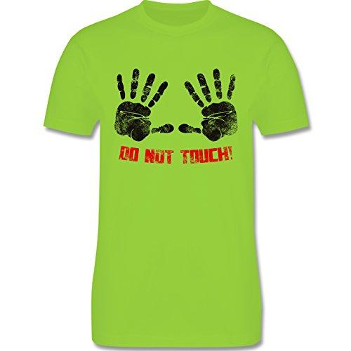 lustige Sprüche - do not touch! - L190 Herren Premium Rundhals T-Shirt Hellgrün