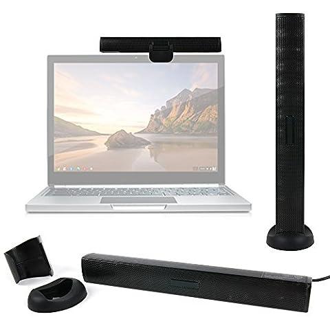 Enceinte fine avec clip + pied pour PC Acer Aspire V 13 V3-372, V Nitro VN7-591G-71W9 et V Nitro VN7-792G-76S9 / VN7-572G-55WV ordinateurs portables - connexion USB - DURAGADGET