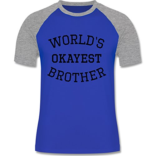 Shirtracer Bruder & Onkel - World's Okayest Brother - Herren Baseball Shirt  Royalblau/Grau meliert
