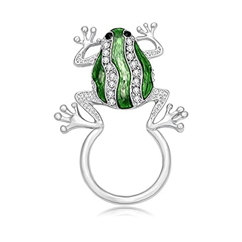 noumanda Silber Farbe Grün Kristall Schöne Frosch Magnetischer Brillenhalter Clip Halter Magnet Pin (Kristall Frog Pin)