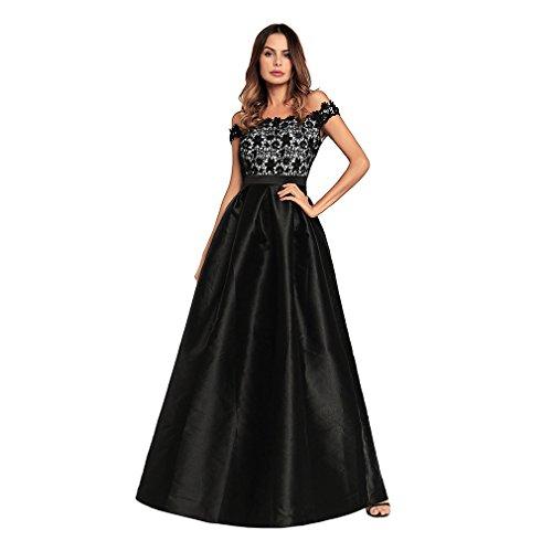 Kleid der Frau Frau Kleid A Line Big Pendel Schwarz Splice Lace Kleider Abend Satin Abendkleid New Spring And Summer Annual Meeting Clothing ( Größe : S ) (Schaufensterpuppe Kleid Abend)