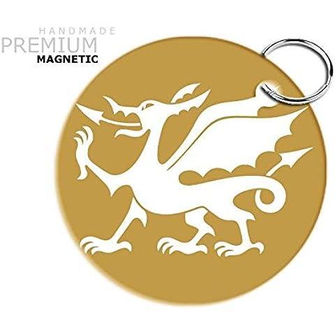 Impresionante JCM Dragón Galés llavero magnético, oro