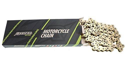 Radical Racing Verstärkte Goldene Antriebskette - Teilung 420, Länge 140 Glieder - Kette mit Kettenschloss für Mopeds, Motorrad, Quad, ATV, Derbi, Aprilia, Yamaha, KTM, Rieju