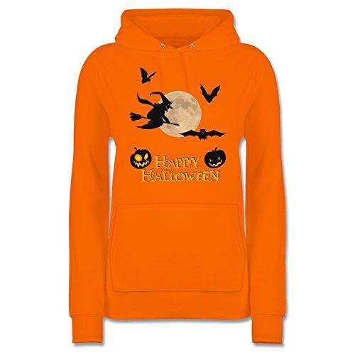 lloween Mond Hexe - XL - Orange - JH001F - Damen Hoodie (Böse Oma Halloween)