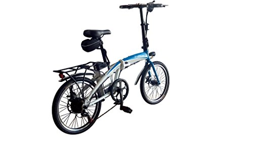 Helliot Bikes by Helliot 02 Bicicleta Eléctrica Plegable, Adultos Unisex, Blanca/Azul, M-L