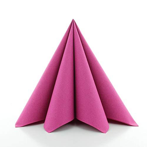 Sovie HORECA Airlaid-Servietten 40x40 cm | hochwertige Einweg-Servietten | extrem saugstark und stoffähnlich | ideal für Hochzeit & Partys | 50 Stück | Violett-Pink
