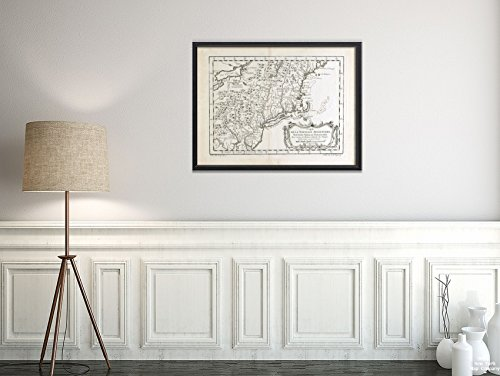 1757 Karte New England/Mittelatlantik-Carte de la Nouvelle Angleterre, Nouvelle York et Pensilvan/Historischer Vintage-Look