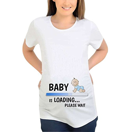 Gagacity Schwanger Shirt lustig Kurzarm mit Baby Spähen Lustige Ankündigung