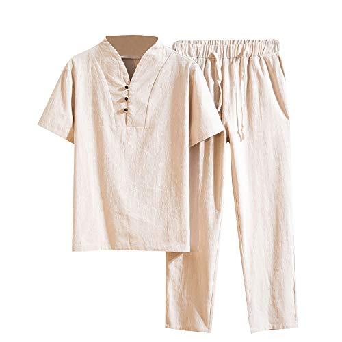 LASPERAL Herren Leinenhemd + Leinenhose Herren Sommer Mode einfarbig Baumwolle und Leinen Kurzarm Hose Set Anzug Trainingsanzug Freizeitanzug Regular Fit