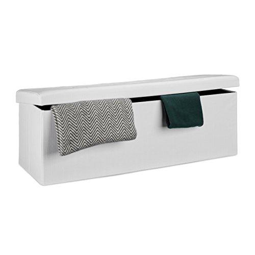 Relaxdays Faltbare Sitzbank XL HBT 38 x 114 x 38 cm stabiler Sitzcube mit praktischer Fußablage als Sitzwürfel aus Leinen als Aufbewahrungsbox mit Stauraum und Deckel zum Abnehmen für Wohnraum, weiß