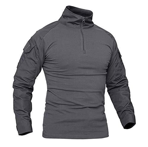 KEFITEVD Camouflage Shirt Herren Flecktarn BDU Taktisch Uniform Woodland Training Kriegspiel Militär Shirt Atmungsaktiv Grau 2XL (Etikett 5XL)