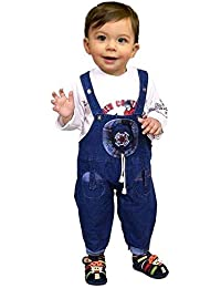Manraj collection Baby boy Baby Girl Full Sleeves Denim Dungaree with T-Shirt Hosiery Soft Cotton Dress with Soft Touch (Blue, 12-18 Months) (Blue, 12-18 Months)