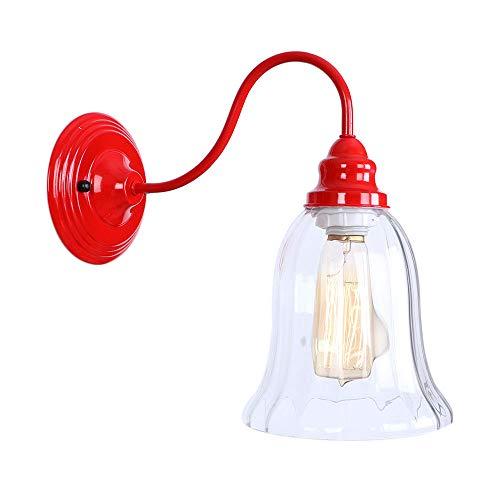 LIGHTLAMPER Schönheit/Wandleuchten/Rot/Glocke/Wandlampen/Metall + PVC/Kunst/Dekoration/Innenbeleuchtung / E27 / Warmes Licht/Maße: 29 * 29 * 30cm / Maximale Leistung: 60w - Rustikale Metall-glocke