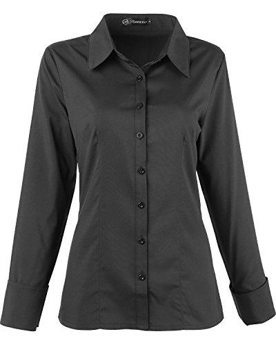SUNNOW Damen Elegante Langarm Blusen Basic Einfache Weiße Collared Lange Ärmel Bluse Business mit Button (EU 44, Schwarz) (Langarm-bluse Schwarze)