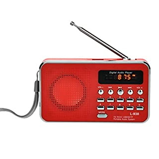 Gaddrt Portable Radio Speaker FM/AM Radio Digital Mini Speaker Music MP3 Player AUX USB TF LED Light Red